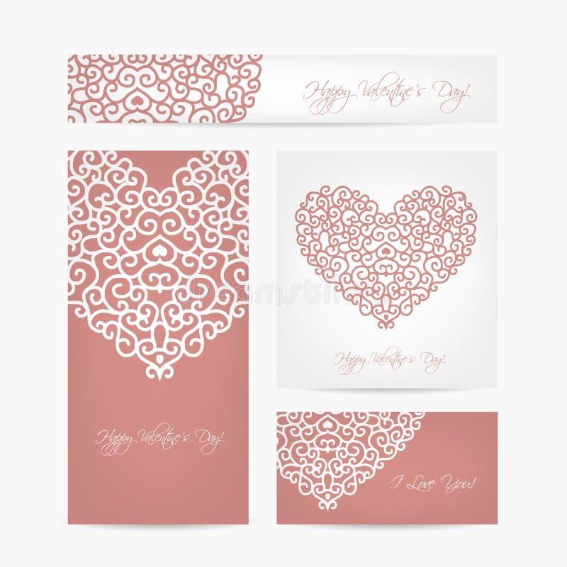 Grupo de cartões do Valentim para seu projeto ilustração royalty free
