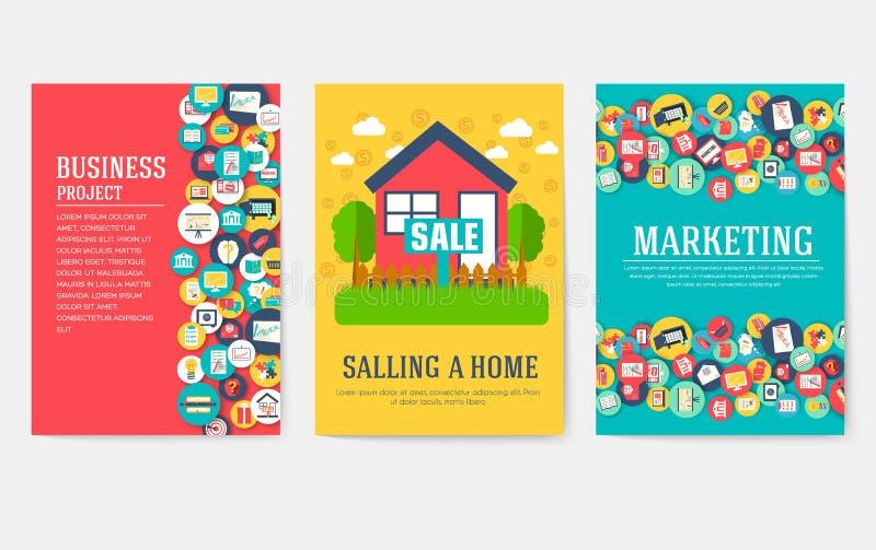 Grupo de cartões dos elementos do negócio Molde de flyear, compartimentos do mercado, capa do livro, bandeiras, brochura IDEIA in ilustração stock