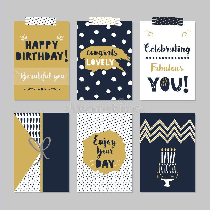 Grupo de cartões dourado e escuro do feliz aniversario dos azuis marinhos no fundo cinzento na moda ilustração do vetor