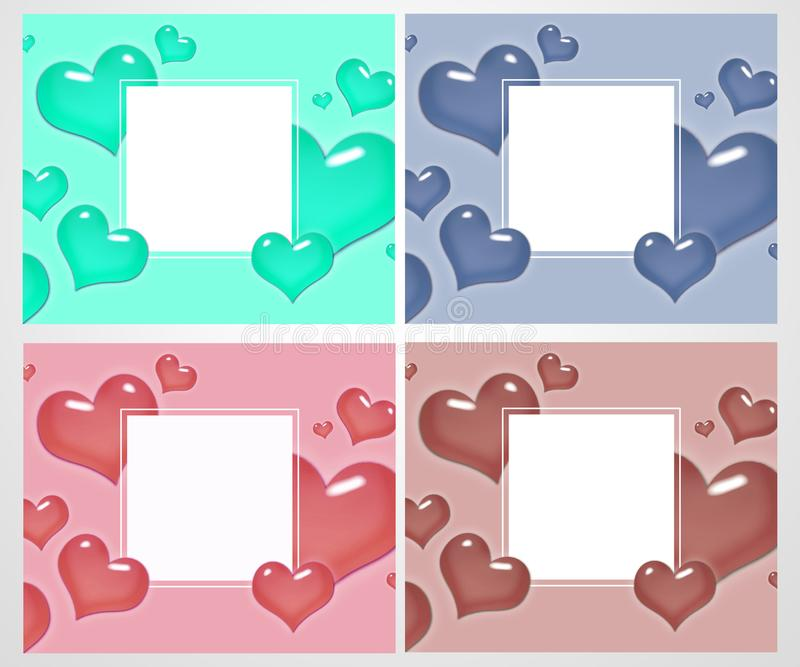 Grupo de cartões e de bandeiras do amor para o dia do ` s do Valentim Grande para o cartaz, menu, convites do partido, meios soci ilustração royalty free