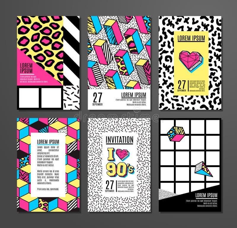 Grupo de cartões e de bandeiras no estilo de 80s-90s memphis ilustração royalty free
