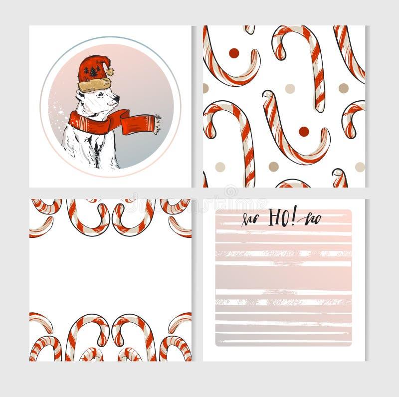 Grupo de cartões feito à mão do Feliz Natal do vetor com caráteres bonitos do urso polar do xmas na roupa e nos doces do inverno ilustração royalty free