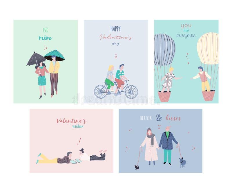 Grupo de cartões feliz do dia de Valentim Povos no amor com citações da tipografia Pares datando felizes Molde do projeto para o  ilustração do vetor