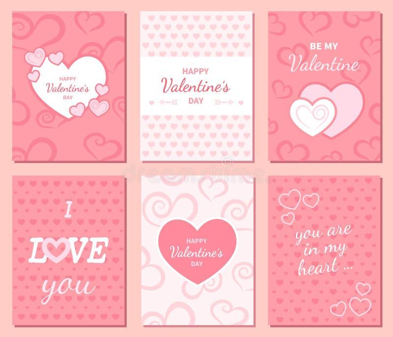 Grupo de cartões felizes do cumprimento e do convite do dia do ` s do Valentim ilustração stock