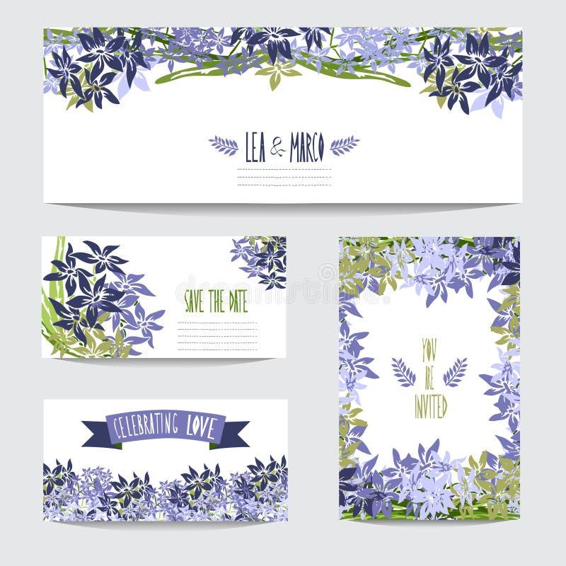 Grupo de cartões floral ilustração stock