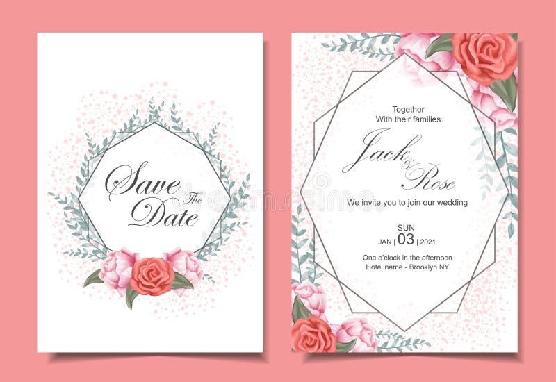 Grupo de cart?es floral do convite do casamento com rosas, as folhas selvagens, quadro geom?trico, e efeito da fa?sca ilustração stock