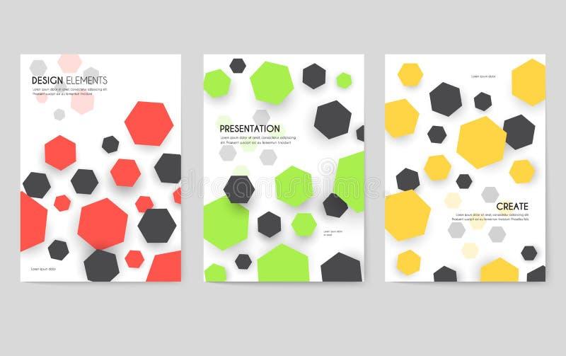 Grupo de cartões geométrico abstrato do teste padrão Dê forma ao molde de flyear, compartimentos das cores, cartazes, capa do liv ilustração royalty free
