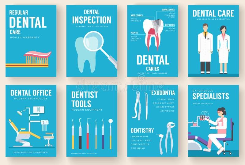 Grupo de cartões interior da informação do escritório dental Molde de flyear, compartimentos da higiene, cartazes, capa do livro, ilustração do vetor
