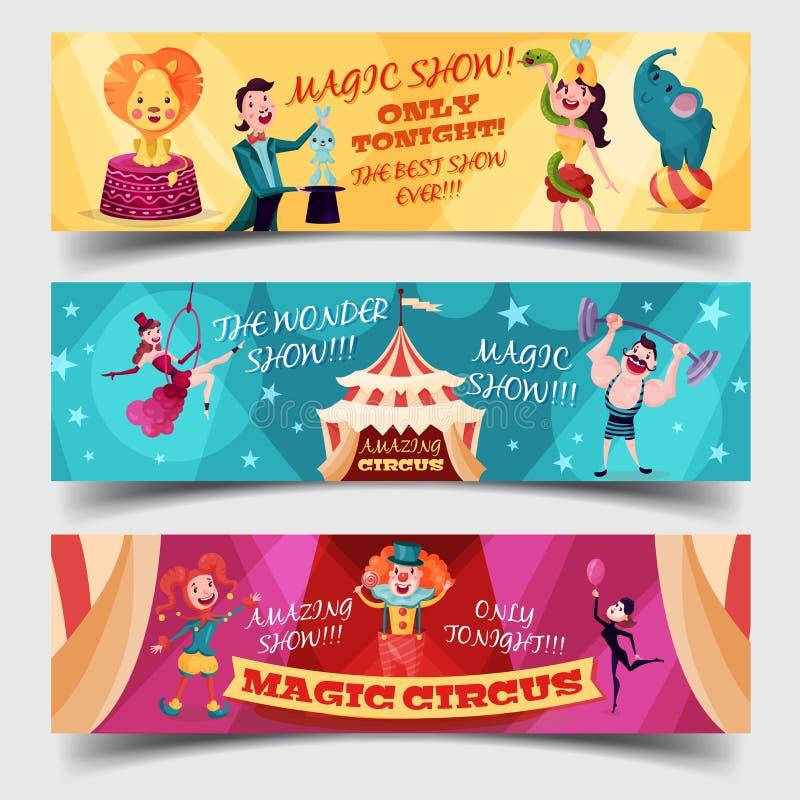 Grupo de cartões isolados do circo com palhaço, mágico ilustração stock