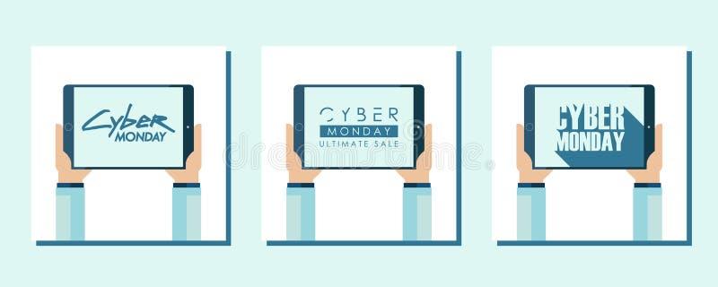 Grupo de cartões liso relativo à promoção do projeto da venda de segunda-feira do Cyber para a compra, o negócio, o comércio e a  ilustração do vetor