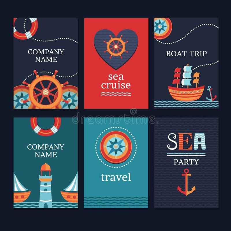 Grupo de cartões marinhos ilustração stock