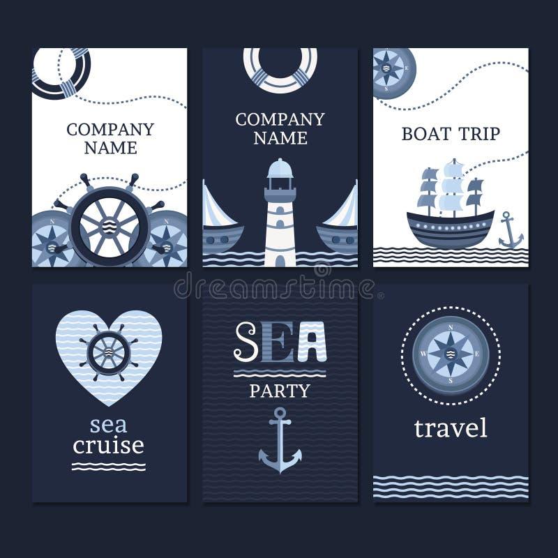 Grupo de cartões marinhos ilustração do vetor
