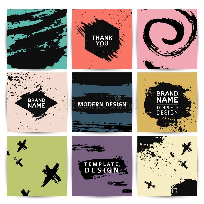Grupo de cartões modernos com a decoração de pontos abstratos do grunge Convites ao fundo dos pontos da tinta universal ilustração stock