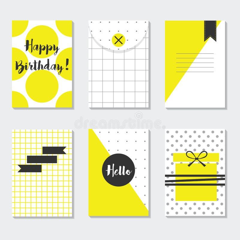 Grupo de cartões na moda amarelo e branco bonito dos testes padrões com feliz aniversario, olá!, e etiquetas do preto ilustração royalty free