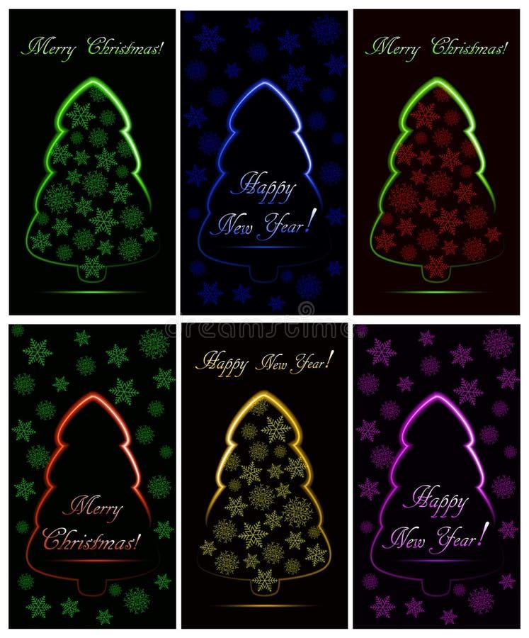 Grupo de cartões de Natal com as seis árvores de Natal de néon abstratas com flocos de neve ilustração do vetor