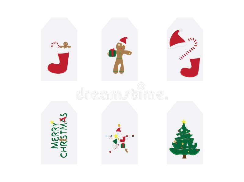 Grupo de 6 cartões de Natal O Feliz Natal carda com ilustrações do vetor Etiquetas dos presentes do Natal Etiquetas da venda do N ilustração do vetor
