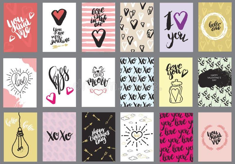 Grupo de cartões para o dia do ` s do Valentim ilustração do vetor