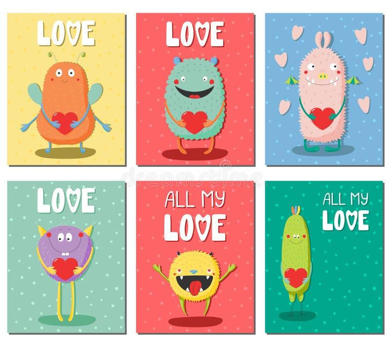 Grupo de cartões prontos para uso com os monstro engraçados bonitos ilustração stock