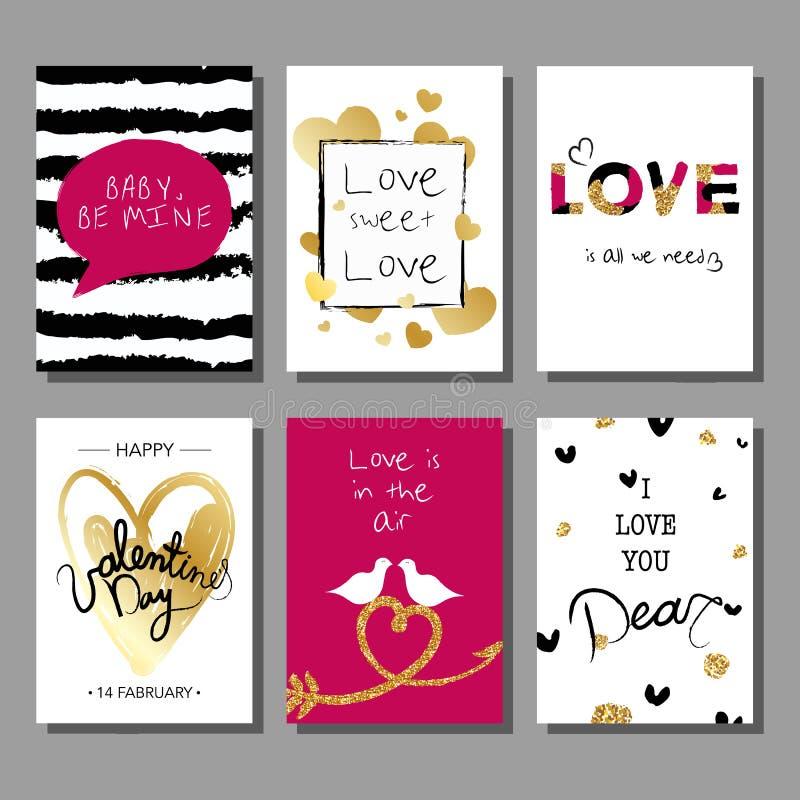 Grupo de cartões tirado do dia do ` s do Valentim mão artística criativa Ilustração do vetor ilustração do vetor