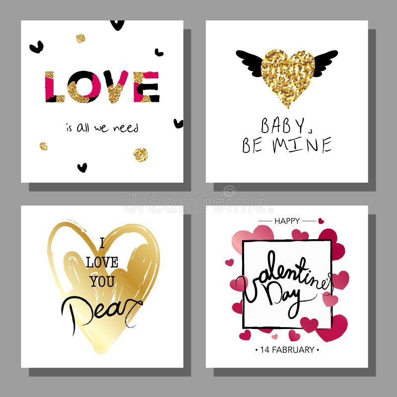 Grupo de cartões tirado do dia do ` s do Valentim mão artística criativa Ilustração do vetor ilustração stock