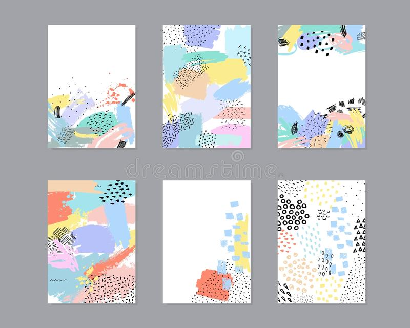 Grupo de cartões universais criativos com texturas tiradas mão ilustração royalty free