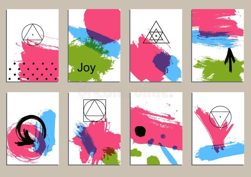 Grupo de cartões universais Texturas tiradas mão Vetor Isolado ilustração stock