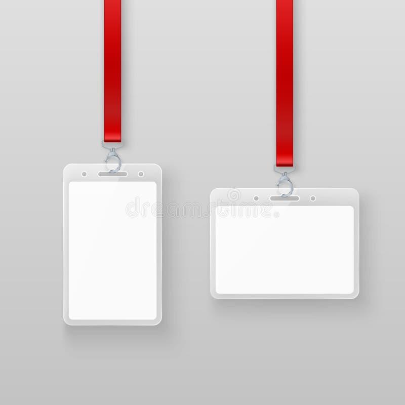 Grupo de cartões vazio vazio branco da identificação do plástico da identificação Sistema da autorização nos eventos ou no escrit ilustração do vetor
