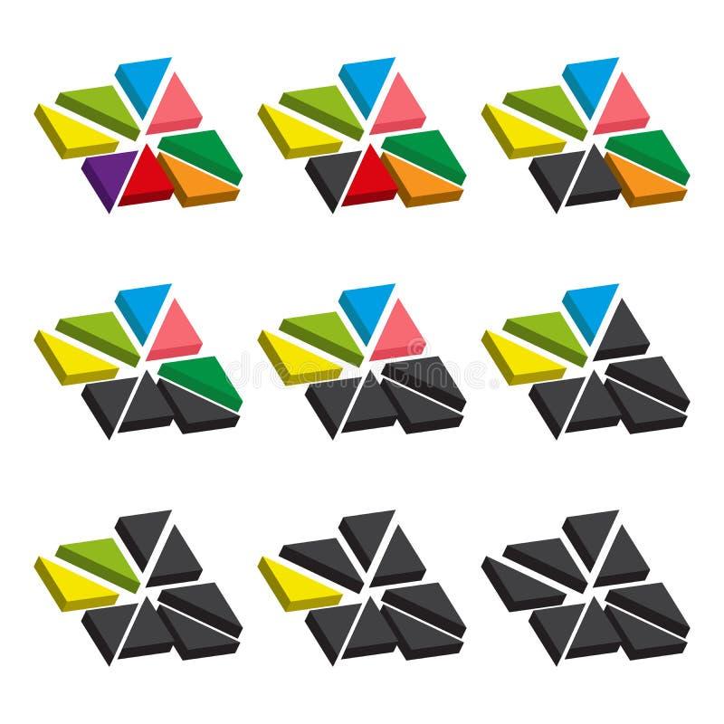 Grupo de cartas coloridas dos triângulos Gráficos setoriais dos moldes no estilo liso Elementos coloridos para o infographics Vet ilustração do vetor