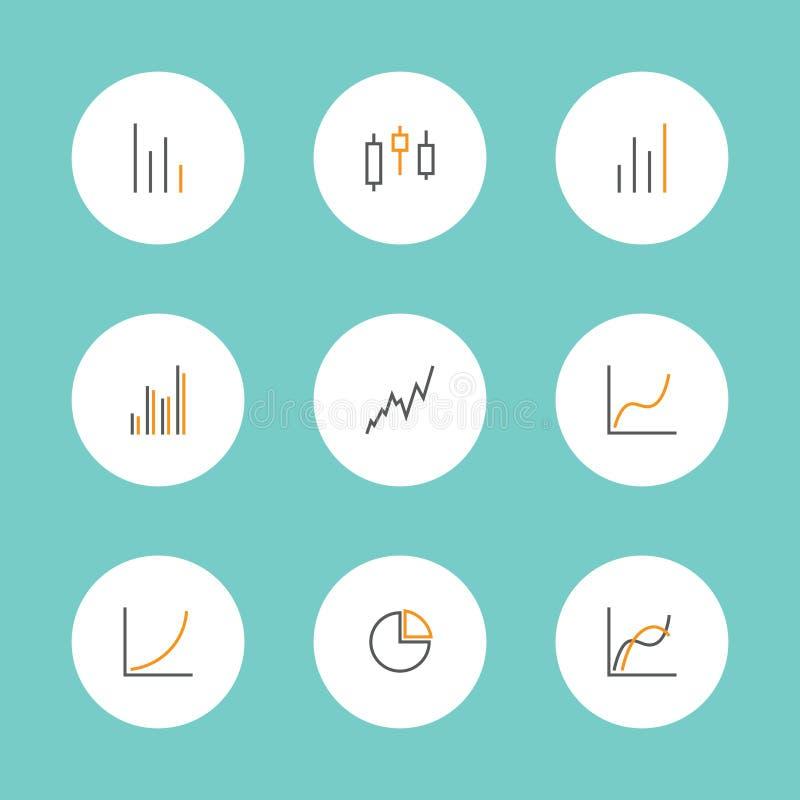 Grupo de cartas e de ícones dos gráficos ilustração do vetor