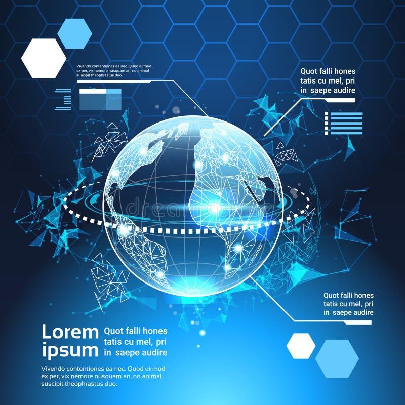 Grupo de cartas futuristas do molde do fundo do sumário da tecnologia do globo do mundo dos elementos de Infographic do computado ilustração stock