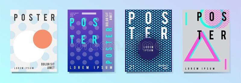 Grupo de cartaz moderno, inseto, folheto no estilo geométrico colorido com elementos abstratos Disposição de projeto do molde ilustração do vetor