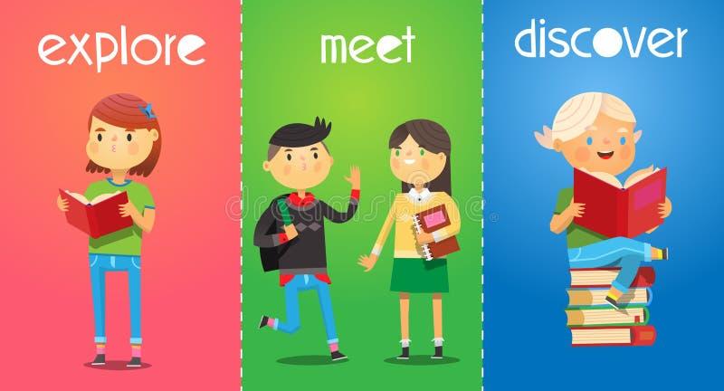 Grupo de cartazes com as crianças dos desenhos animados na escola A menina lê um livro ilustração stock