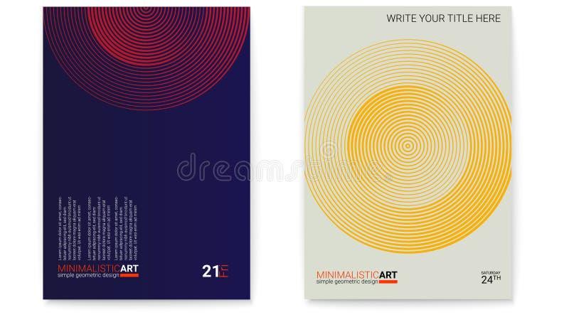 Grupo de cartazes com forma simples no estilo do bauhaus Projeto da tampa com arte minimalistic geométrica moderna Digital modern ilustração royalty free