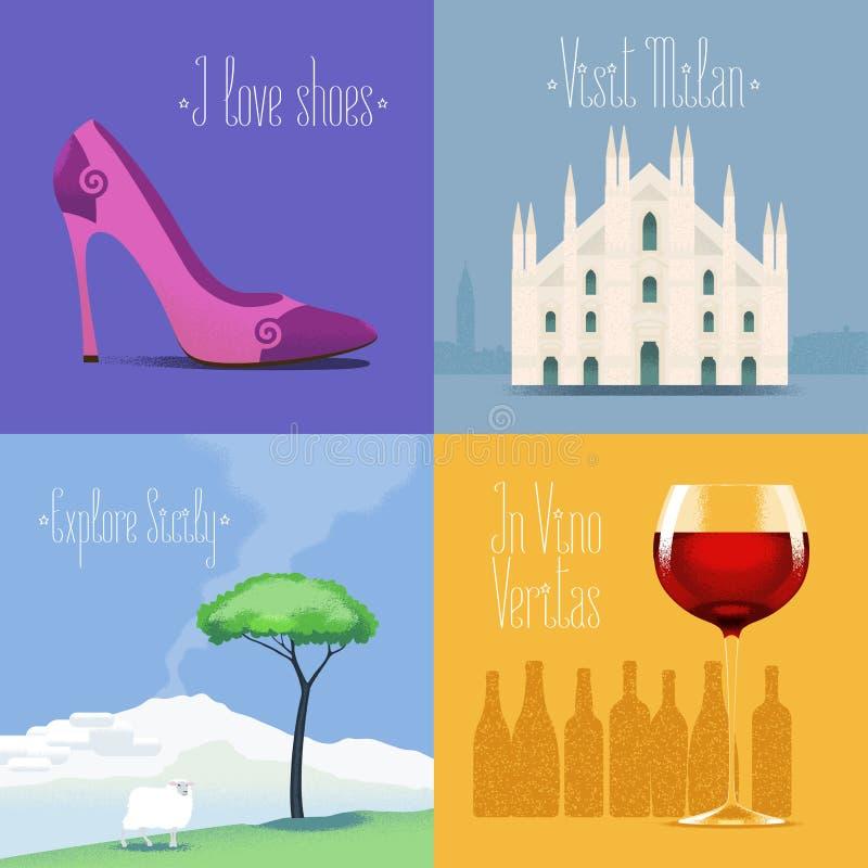 Grupo de cartazes do vetor, insetos, cartão, projeto, ilustração para Itália ilustração royalty free