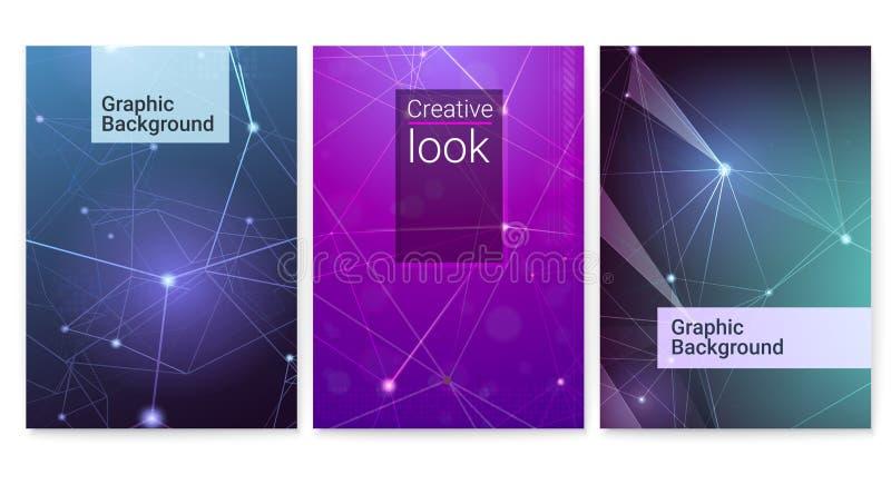 Grupo de cartazes do vetor Relações tecnologicos e de comunicação, teste padrão digital do cyber Grade geométrica com pontos ilustração stock