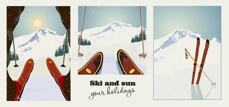 Grupo de cartazes do vintage do esqui do inverno Esquiador que prepara-se para descer a montanha Fundo do inverno ilustração stock