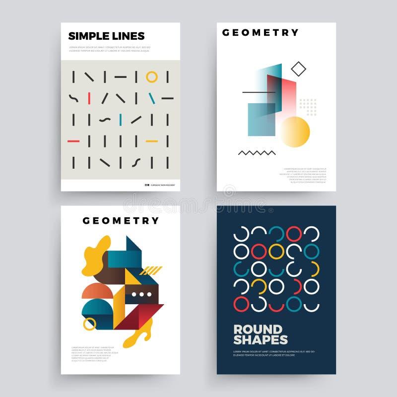 Grupo de 80 cartazes geométricos abstratos do ` s com formas simples e cores retros ilustração stock