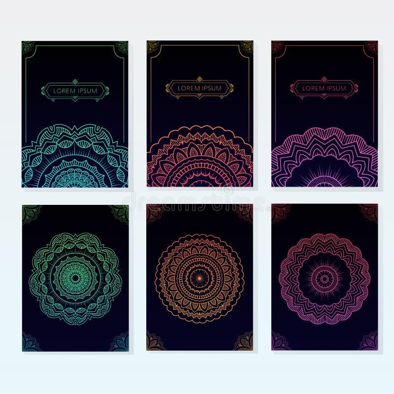 Grupo de cartazes ornamented da mandala imagens de stock