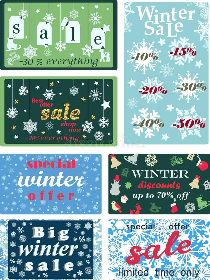 Grupo de cartazes para o inverno e vendas sazonais do Natal, discontos e preços com flocos de neve Ilustração do vetor ilustração royalty free