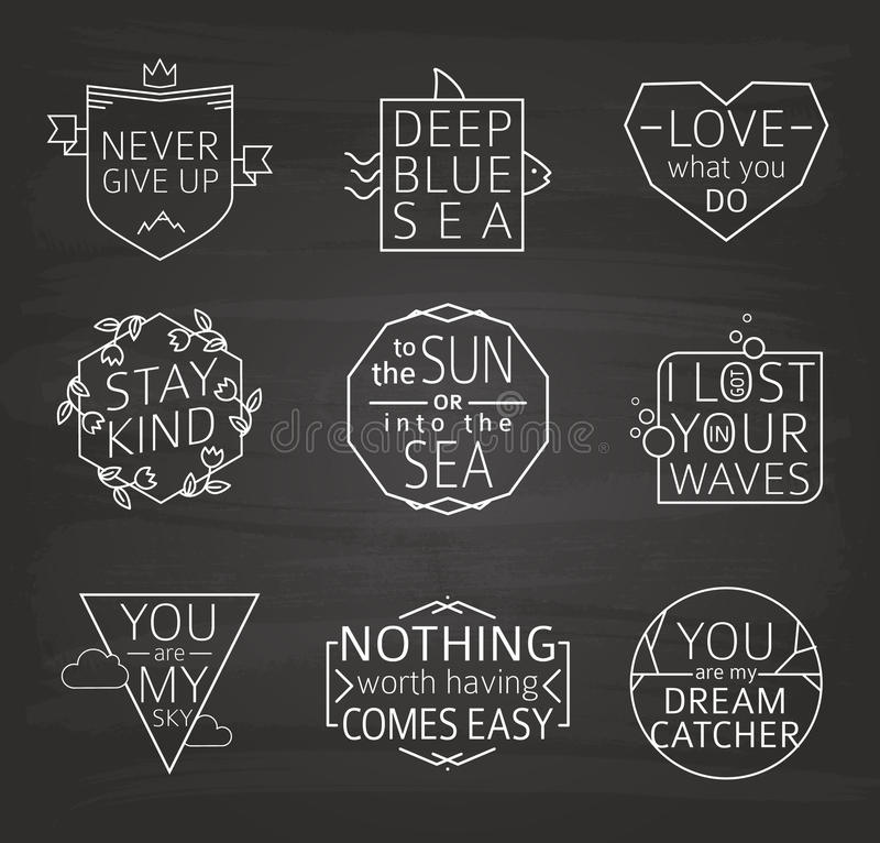 Grupo de cartazes tipográficos das citações, linha projeto Fundo do quadro ilustração stock
