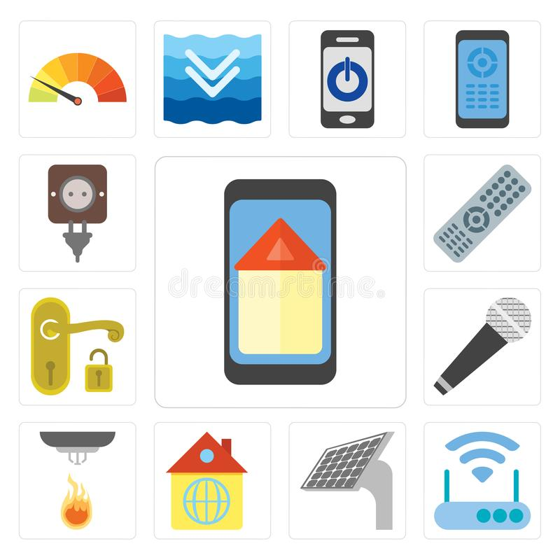 Grupo de casa esperta, modem, painel, casa, sensor, microfone, Handl ilustração do vetor