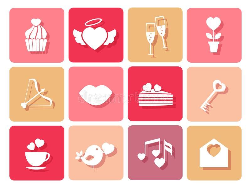 Grupo de casamento e ícones dos Valentim para cartões ilustração do vetor