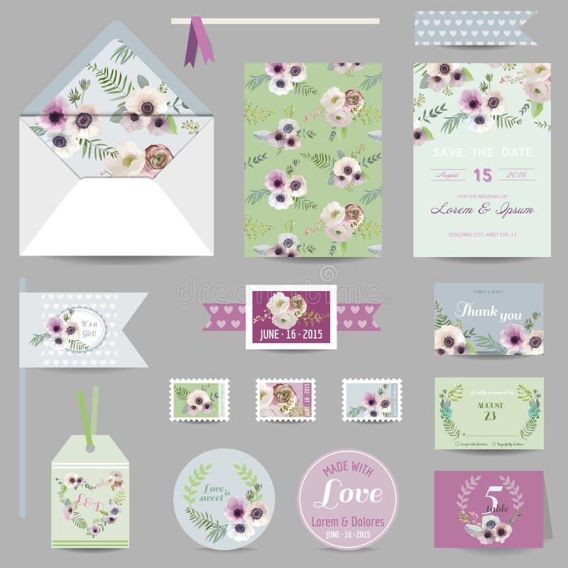 Grupo de casamento estacionário - cartões do convite ilustração stock
