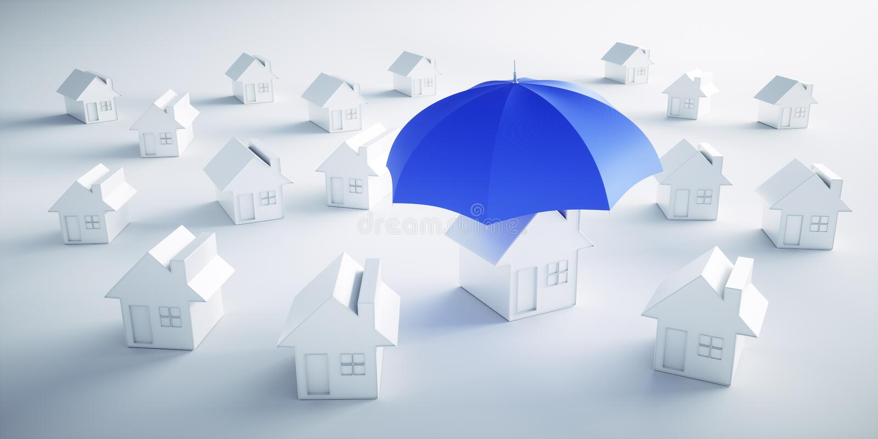 Grupo de casas blancas con un paraguas stock de ilustración