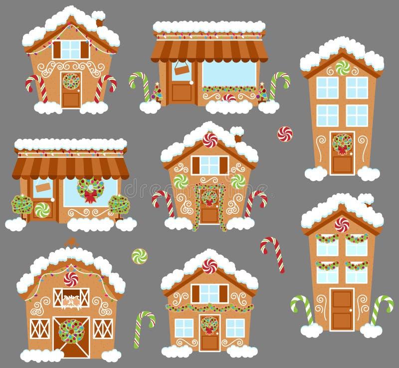 Grupo de casas de pão-de-espécie bonitos do feriado do vetor, de lojas e de outras construções ilustração stock