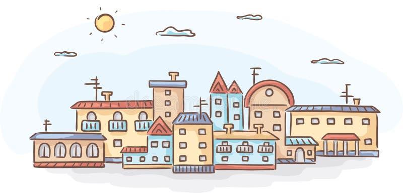 Grupo de casas desenhados à mão ilustração stock