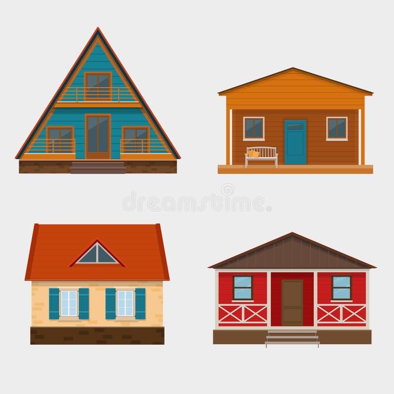 Grupo de casas detalhadas da casa de campo e de chalé alpino ilustração stock