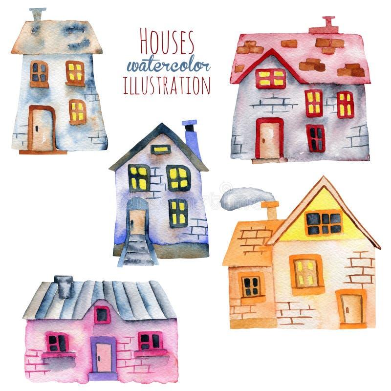 Grupo de casas do inglês da aquarela ilustração royalty free