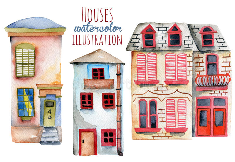 Grupo de casas do inglês da aquarela ilustração stock