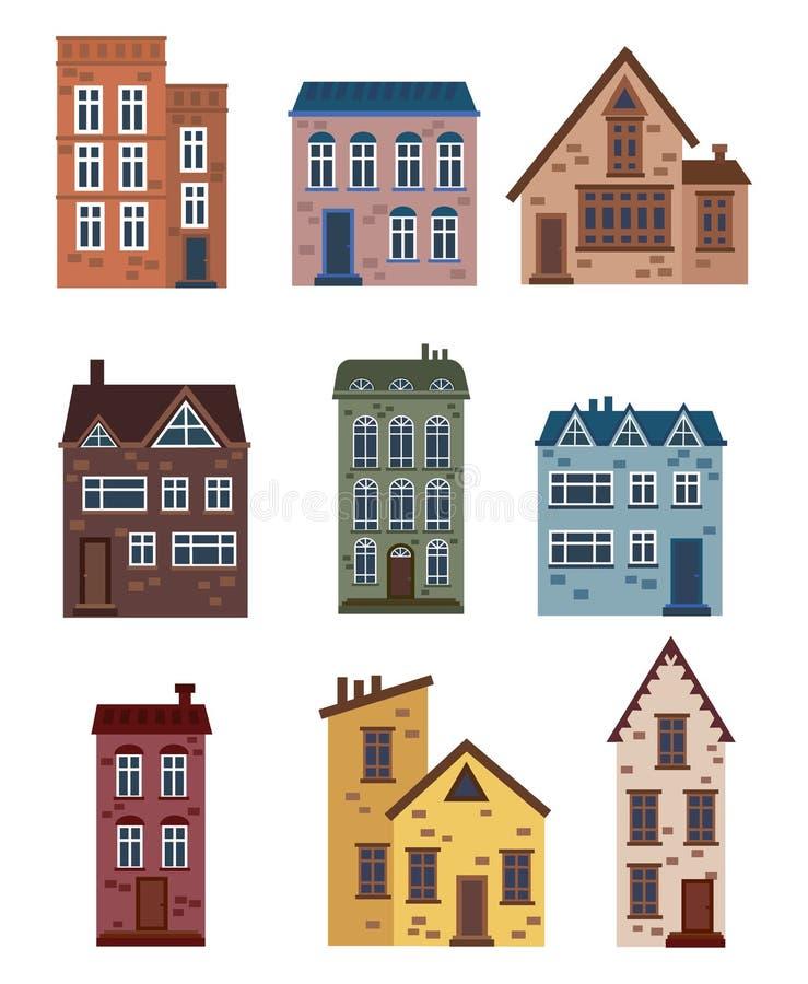 Grupo de casas dos desenhos animados Coleção de casas estilizados Construções arquitetónicas Ilustração do vetor de uma cidade Ar ilustração do vetor